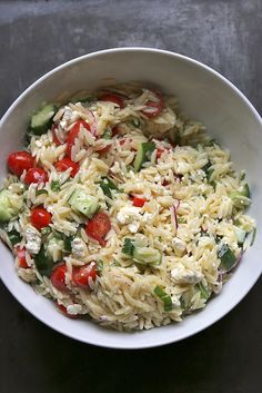not yet summer greek pasta salad from Joy the Baker. This looks amazingggggg. Might have to make this over the weekend as a preggers snack that won't fatten me up.