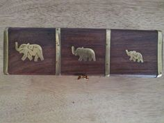 Wooden and Brass Inlays ELEPHANT INCENSE STICK BOX / STORAGE Good Luck Trunks Up