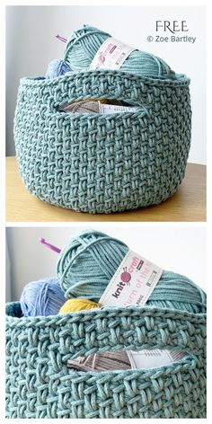Crochet Patterns, Crochet Basket Pattern, Crochet Designs, Crochet Stitches, Knitting Patterns, Basket Weave Crochet, Crochet Baskets, Basket Weaving, Crochet Ideas