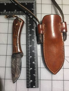 Damascus neck knife/custom leather sheath combo
