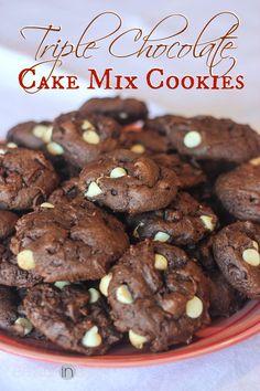 Triple Chocolate Cake Mix Cookies