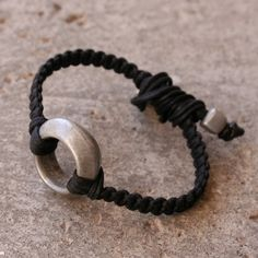 Vintage African Ring Bracelet - Solid Aluminum Ring and Woven Black Linen