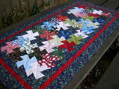Christmas Table Runner Tessellating Pinwheels by atthebrightspot, $72.00