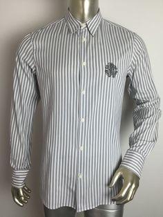 af7a4afed068 Roberto Cavalli Striped Button Down Shirt Size 48 M Men S