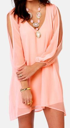 Pretty Peach Chiffon Shirt Dress