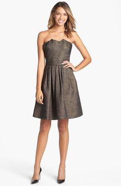 Halston Heritage Pleated Metallic Fit & Flare Dress | Nordstrom