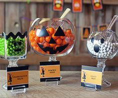 Crafty Candy Dishes Get creative and make Frankenstein, ghost, and jack-o-lantern serving pieces with bowls and candle sticks from the dollar store. Fill each with bright and colorful candies to add color to your monsters' faces!