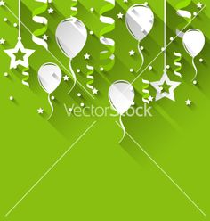 Birthday background with balloons stars and vector - by smeagorl on VectorStock®