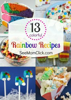 Need a colorful rainbow cake recipe for your child's rainbow party? I have it here along with a bunch of other fun rainbow recipes. Cupcakes, easy desserts and more ideas!