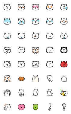 Cute Easy Drawings, Cute Little Drawings, Kawaii Doodles, Cute Doodles, Bullet Journal Art, Bullet Journal Ideas Pages, Printable Stickers, Cute Stickers, Emoji Characters