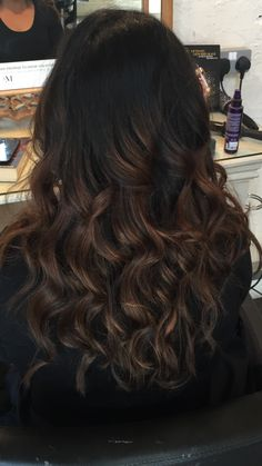 Balayage, black hair, brown, caramel, inspired by Emily from PLL! Más