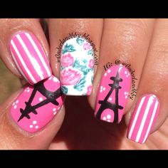 Eiffel Tower nail art. Floral nail art. Cute girly classy nail art. Floral design inspired by @followthatway