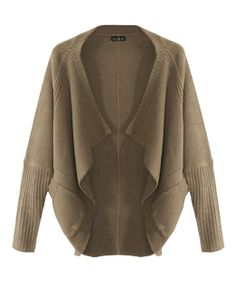 Pure Color Loose Fit Cardigan With Bat-wing Sleeves