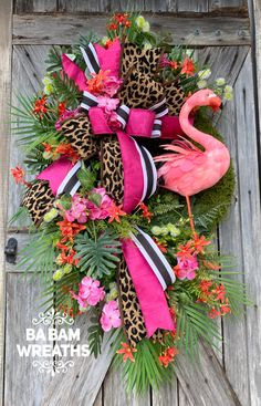 Made by Ba Bam Wreaths Wreath Crafts, Diy Wreath, Wreath Ideas, Holiday Wreaths, Holiday Crafts, Holiday Decor, Flamingo Decor, Summer Wreath, Spring Wreaths