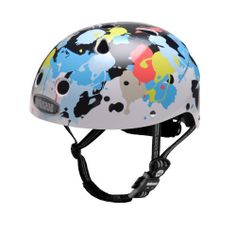 Nutcase Little Nutty Paint Fight Bike Helmet, X-Small by Nutcase. $60.00. 360 degree Reflectivity in front, back and side Nutcase logos. 2 Front intake vents, 7 multiple top-mounted exhaust vents, and 2 Rear exhaust vents. Adjustable Spin Dial allows for perfect fit and three sets of removable low-density polyurethane foam insert liners for comfort, and for refining fit.. Complies with CPSC standard for age 5 + up - Injection-molded ABS shell- Expanded Polystyrene (EPS) protec...