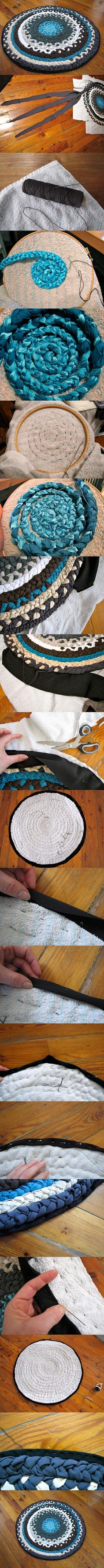 to attach rug to backing rather than sewing together. Could work on woven strips, also.