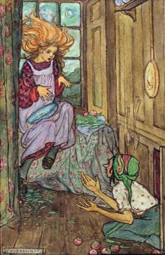 Marigol Mary's hair was gold, her hair was long, but it stood upright, till she looked, to that old and bald kobold, like a torch alight on a windy night - Elfin Song, a Book of Verse and Pictures by Florence Harrison, 1912