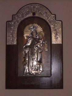 Virgen del Carmen  Repujado en estaño  Elaborado a mano por Myrla García de Garate  Caracas - venezuela