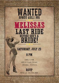 Nuit Invitation de Bachelorette Party/Hen : dernier Ride Country/Western thème la mariée avec Pin Up cow-girl by BrownDogPress on Etsy