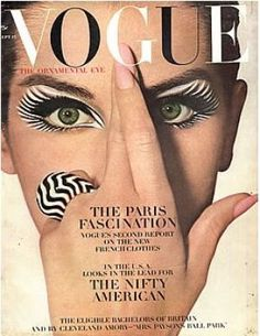 Vintage Vogue magazine covers - Vintage Vogue September 1964 - Veronica Hammel.jpg  Taking animal prints to a whole new level, while still managing a Paris shout out.