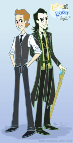 "ghostybooodles: "" WOW did somebody order some fanart of Tom and Loki in SUITS? And now you should know how much I absolutely adore this art style and the awesome webcomic Loki and the. Loki Art, Loki Thor, Loki Laufeyson, Tom Hiddleston Loki, Hulk, Marvel Dc, Marvel Comics, Avengers, Loki God Of Mischief"