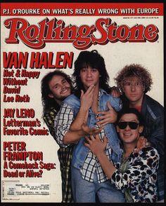 Van Halen, 1986 Rolling Stone Cover by Deborah Feingold art print Music Magazines, Vintage Magazines, Classic Rock And Roll, Rock N Roll, Eddy Van Halen, Van Hagar, Rolling Stone Magazine Cover, Peter Frampton, David Lee Roth