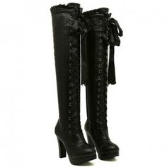New Arrival Lacework and Lace-Up Design Over The Knee Boots For Women, BLACK, 39 in Boots | DressLily.com