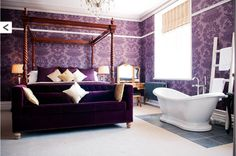 Here is one of my favourite interiors at Plas Rhianfa in Anglesey! Those beautiful, plush, purple velvet's say luxury all over don't you think...