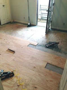 Diy gray plywood plank flooring i would cover with a wax or matte idea for an inexpensive and customizable way the put new floors down in the boys rooms diy wood solutioingenieria Image collections