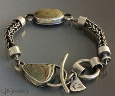 OOAK ,Sterling Silver Bracelet, Royston Ribbon Boulder Turquoise Bracelet, Link Bracelet, Gemstones Bracelet, Turquoise Jewelry
