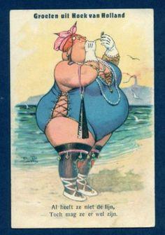 Groeten uit Hoek van Holland - comic vintage postcard - chubby woman -  B4944 Arthur Thiele postcard, Bathing Beauty Lipstick