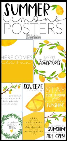 Arts And Crafts Ideas For Toddlers Summer Bulletin Boards, Classroom Bulletin Boards, Classroom Posters, Classroom Themes, Lemon Crafts, Holiday Classrooms, Lemon Kitchen Decor, Free Printable Art, Bulletins