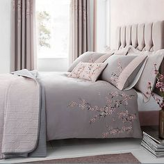 Catherine Lansfield Embroidered Blossom Grey Duvet Cover and Pillowcase Set King Duvet Cover Sets, Bed Duvet Covers, Duvet Sets, Grey Duvet, Pink And Grey Bedding, Double Duvet, Bed Styling, Linen Bedding, Bed Linens