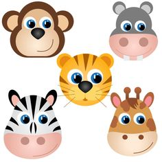 Animal Faces clip art set 10 designs. INSTANT DOWNLOAD for