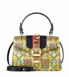 Sac cross-body en cuir et brocart Sylvie Mini | Gucci