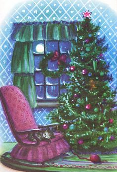 Pretty Christmas Scene...............cat sleeping on the chair, waiting for santa...
