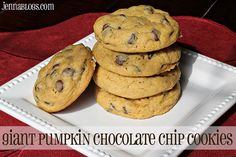 GIANT Pumpkin Chocolate Chip Cookies  #pumpkin #cookie