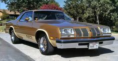 "1977 Olds 442 -   My first car was a '77 Cutlass Supreme with the same color/paint scheme as this 442 (w/o the ""442"" worked into the contrast stripe), and the landau top that matched the contrast stripe along the bottom."