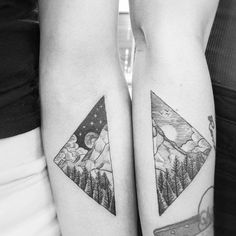 Cute vintage etching blackwork matching friendship tattoos of mountain and forest landscape day and night by Alexandyr Valentine