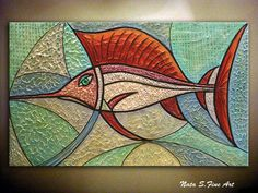 "Modern Fish Painting.Heavy Textured Large Abstract Painting.Original Painting.Teal Home Office Decor Large Artwork   24""x40""  - by Nata S"