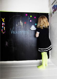 blackboard walls and bright highlights Bright Highlights, Blackboard Wall, Blackboards, Kid Spaces, Creative Kids, Little Miss, Hygge, Room Inspiration, Playroom