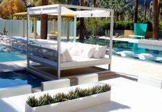 Furniture, Amazing Area View of Indoor and outdoor Swimming Pool: Luxury Poll Side With White Gazebo And Lounge Chairs Outdoor Seating Areas, Outdoor Spaces, Outdoor Living, Outdoor Daybed, Outdoor Decor, Outdoor Pool, Outdoor Lounge, White Gazebo, Daybed Canopy