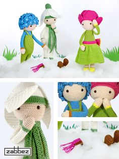 Crochet flower dolls Snowdrop Sia, Peony Pam and Hydrangea Hank are playing in the snow.. Who is this new flower doll? New amigurumi crochet pattern arriving soon!