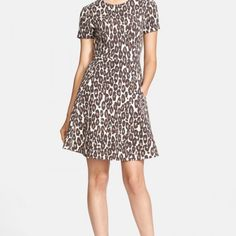 evaChic| Every evaChic gal needs a leopard print dress. This dress retails for $348 in stores and is now sold out. This is an impeccably tailored short sleeve dress. The feminine fit and flare silhouette helps tame the wildcat spots pattern. Young and chic. http://www.evachic.com/product/kate-spade-autumn-leopard-fit-and-flare-dress/