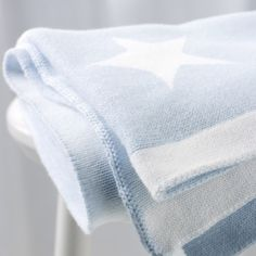 babyblue.quenalbertini: Reversible Palest Blue and White Star Baby Blanket | The White Company