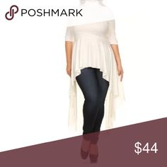 Plus Off White Faux Leather Peplum High Low Top Featuring a beautiful faux leather blouse. Fun flirty cascading style with a flowly hemline and ruffle peplum style at waist. Turtleneck neckline. 3/4 length sleeves. Light stretchy luxurious faux leather styled material.      Made of: 94% Polyester & 6% Spandex Tops Blouses