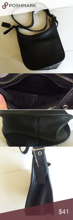 """ReducedCoach Vintage Crossbody Black Vintage Coach Crossbody in gently used condition. Minimal sign of wear for vintage, no tear or stain both outside and inside. Slight scratches on surface but too subtle to capture with camera. Strap is adjustable and can be used as Crossbody or shoulder bag. The right bottom """"pops out"""" of the frame when you push down the bag when it's empty but can easily be pushed back, and it's nothing major or noticeable. Please feel free to ask any questions before…"""