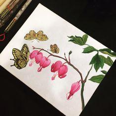 안녕하세요~ 선데이민화 투데이클래스(2주) 투데이클래스에서 진행되는 금낭화와 나비 도안을 소개해드릴게... Fabric Art, Folk Art, Drawings, Flowers, Korean, Painting, Heart, Popular Art, Korean Language