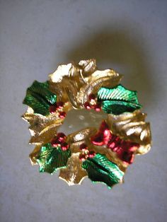 Gerry's Gerrys Wreath Holly Red and Green by masterymixedmedia, $4.95