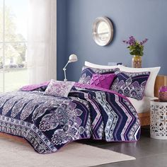 Intelligent Design Kinley Comforter Set, Purple ($60) ❤ liked on Polyvore featuring home, bed & bath, bedding, comforters, purple, floral comforters, twin comforter sets, paisley comforter, twin xl bedding and extra long twin comforter set